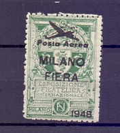 CINDERELLA ERINNOFILIA MILANO FIERA  POSTA AEREA  ESP. FILAT. INTERNAZIONALE 1948  (GIUGN190036) - Erinnofilia