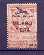 CINDERELLA ERINNOFILIA MILANO FIERA  POSTA AEREA  ESP. FILAT. INTERNAZIONALE 1948  (GIUGN190038) - Erinnofilia