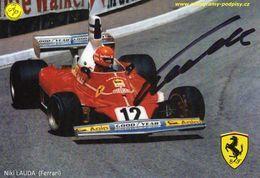 Niki Lauda  -  Ferrari F1     -  Carte Promo (signée) - Grand Prix / F1