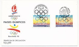 Enveloppe FDC Emission Commune France/Espagne Jeux Olympiques Barcelone 1992 - Emissions Communes