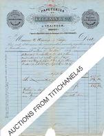 Facture  1866 KRAAINEM - LEGRAIN & Cie - Papeteries - Cachet Privé - TP N°18 Oblit. LP63 BRUXELLES Le 28.5.1866 - Imprenta & Papelería