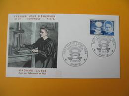 FDC 1967  France N° 1533   Centenaire De La Naissance De Marie-Curie     Cachet  Paris - FDC