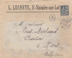 118 25c BLEU MOUCHON Seul S/ LETTRE Pour MONS BELGIQUE - 1900-02 Mouchon