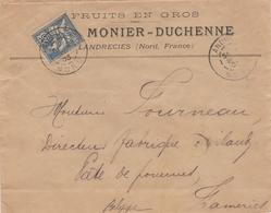 127 25c MOUCHON Seul S/ Lettre De (59) LANDRECIES - Juin 1903 - Pour BELGIQUE - Fruits - 1900-02 Mouchon