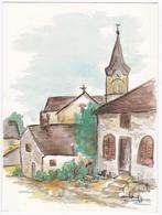 THIONVILLE / GUENTRANGE - L'Eglise Vers 1900 - Aquarelle De M. Chr. Obertot-Andrès - Thionville