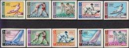 """1964-(MNH=**) Ajman S.10v.non Dentellati """" Olimpiadi Di Tokyo"""" - Estate 1964: Tokio"""