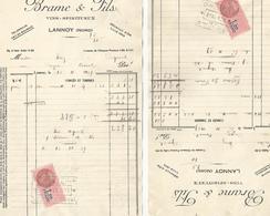 Lot De 2 Factures Brame Et Fils A Lannoy 1939 - France