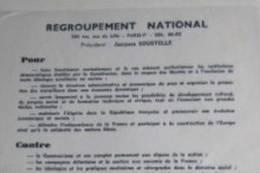 Tract 1 Feuillet : Regroupement National De Jacques Soustelle, 1960 - Documentos Antiguos