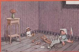 L'enfant Triste, Son Cheval à Bascule Cassé.--  Oilette -- Scan - Humorous Cards
