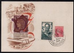 MARSEILLE / 1949 CENTENAIRE DU TIMBRE - CARTE COMMEMORATIVE (ref LE3449) - Storia Postale