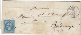 014. LSC N°14 Bleu Lilas - Càd Le Bugue (DORDOGNE) - PC. 561- Signée Roumet - R - 1858 - Postmark Collection (Covers)