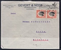 Ca0287 CHILE 1925, 2 @ SG 142 20c Orange On Santiago Cover To Germany - Chili