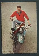 L'acteur Peter Kraus Sur Sa Moto. Photo Polydor. 2 Scans. - Motorbikes