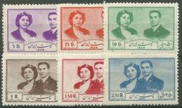 Iran 1951 Hochzeit Schah Pahlavi U. Soraya Esfandiari 840/45 Postfrisch, Hinweis - Iran