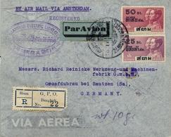 1938 , TAILANDIA / THAILAND , SOBRE CERTIFICADO VIA AMSTERDAM , BANGKOK - GROSSDUBRAU, LLEGADA - Tailandia