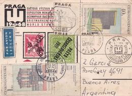 PRAGA W 1968 SVETOVA VYSTAVA EXPO CARD CIRCULEE CHECOSLOVAQUIA TO ARGENTINE  - BLEUP - Tchécoslovaquie