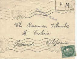 2.50F Ceres 1940 Romans Sur Isere, Drome To Oceanside, Calif. With Depot 144 Franchise Militaire Cachet.  Mailed A... - Lettres & Documents