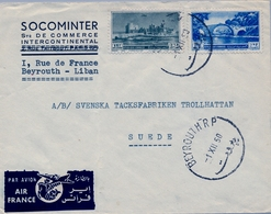 1950 , LIBANO / LIBAN , SOBRE COMERCIAL CIRCULADO , BEYROUTH - SUECIA , POR AVIÓN , VIA AIR FRANCE - Líbano