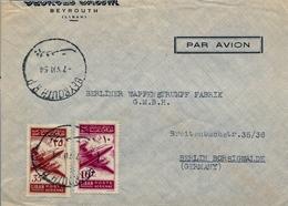 1954 , LIBANO / LIBAN , SOBRE COMERCIAL CIRCULADO , BEYROUTH - BERLIN , POR AVIÓN, LLEGADA AL DORSO - Líbano