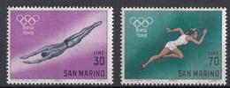 "San Marino 1964 Uf. 660-661 ""Verso Tokio""  Tuffi Corsa FemminileFull Set MNH Olimpiadi - High Diving"