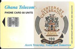 CARTE--PUCE-SC7-01/98-GHANA-SCHLUMBERGER-50U-CENTENAIRE-UTILISE-TBE -RARE - - Ghana