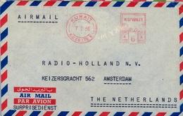 1956 , KUWAIT , SOBRE CIRCULADO A HOLANDA , CORREO AÉREO , RARO FRANQUEO MECÁNICO - Kuwait