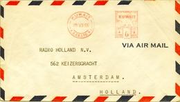 1955 , KUWAIT , SOBRE CIRCULADO A HOLANDA , CORREO AÉREO , RARO FRANQUEO MECÁNICO - Kuwait