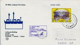 1983 , KUWAIT , PRIMER VUELO / FIRST FLIGHT , KUWAIT - DUBAI , LUFTHANSA - Kuwait