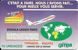 CARTE-PUCE-GUINEE-EQUATORIALE-10U.T-SC7-Schlum-LIGNE AERIENNE DOUALAS/LAGOS/PARIS-UTILISE-TBE - Equatoriaal Guinea