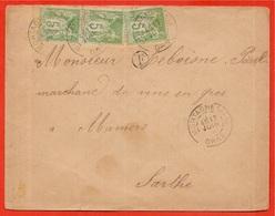Lettre Avec Type Sage 5 C. (3: Une Paire + Un Autre Timbre) De Mortagne à Mamers - France