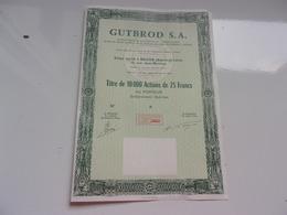 GUTBROD (titre De 10000 Actions De 25 Francs) Macon , Saone Et Loire - Actions & Titres