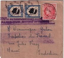 MAZELIN - BLASON CORSE - BANDE JOURNAL POUR HANOI - INDOCHINE - AFFRANCHISSEMENT A 1F20. - Marcophilie (Lettres)