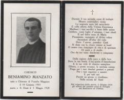 Santino Luttino Del Chierico Beniamino Manzato (Fossalta Maggiore, Chiarano Treviso 1903 San Donà Di Piave Venezia 1928) - Avvisi Di Necrologio