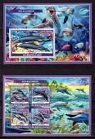 Burkina Faso, 2019. [bf1904] Marine Fauna, Dolphins (s\s+block) - Dauphins