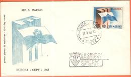 SAN MARINO - 1963 - Europa CEPT - FDC - Europa-CEPT