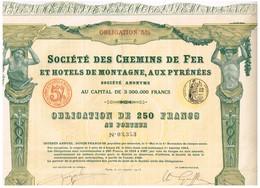 Obligation Ancienne - Société Des Chemins De Fer Et Hôtels De Montagne, Aux Pyrénées -Titre De 1913 - N° 3353 - Chemin De Fer & Tramway