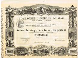 Ancien Titre - Compagnie Générale Du Gaz Pour La France & L'Etranger - Société Anonyme - Titre De 1906 - Déco - Electricité & Gaz