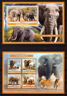 Burkina Faso, 2019. [bf1910] Elephants (s\s+block) - Olifanten