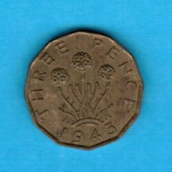GREAT BRITAIN  3 PENCE 1943 (KM # 849) #5249 - 1902-1971 : Post-Victorian Coins