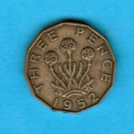 GREAT BRITAIN  3 PENCE 1952 (KM # 873) #5250 - 1902-1971 : Post-Victorian Coins