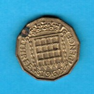GREAT BRITAIN  3 PENCE 1962 (KM # 900) #5251 - 1902-1971 : Post-Victorian Coins