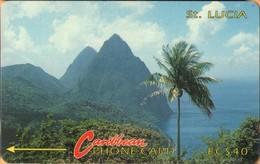 Saint Lucia - GPT, STL-3C, 3CSLC, SBr, Pitons 2 (Without Logo), Palm-trees, Rocks, 40$, 30,250ex, 1991, Used - Sainte Lucie