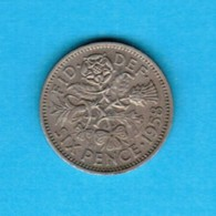 GREAT BRITAIN  6 PENCE 1958 (KM # 903) #5254 - 1902-1971 : Post-Victorian Coins