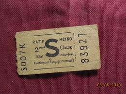 Ticket De Métro - Métro