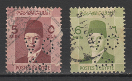 Egypt - 1937 - RARE - Perfin. - ( King Farouk - 5 & 6 M ) - Oblitérés