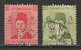 Egypt - 1937 - RARE - Perfin. - ( King Farouk - 2 & 6 M ) - Oblitérés