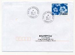 "POLYNESIE FRANCAISE - Enveloppe Affr. Pareo Oblitérée ""RIKITEA MANGAREVA / GAMBIER"" 30-12-2011 - Lettres & Documents"