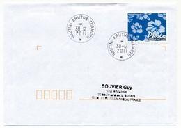 """POLYNESIE FRANCAISE - Enveloppe Affr. Pareo Oblitérée """"RAUTINI-ARUTUA-TUAMOTU"""" 30-12-2011 - Lettres & Documents"""