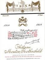 Etiquette Vin Mouton Rothschild, 1954, Dessin Inédit De Carzou, 75 Cl - Red Wines