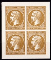 FRANCE N°9 NAPOLEON III 0,10c BLOC DE 4 TIMBRES EMIS PAR LE MUSEE  DE LA POSTE AVEC LES POINCONS D'ORIGINE ** - 1852 Louis-Napoléon